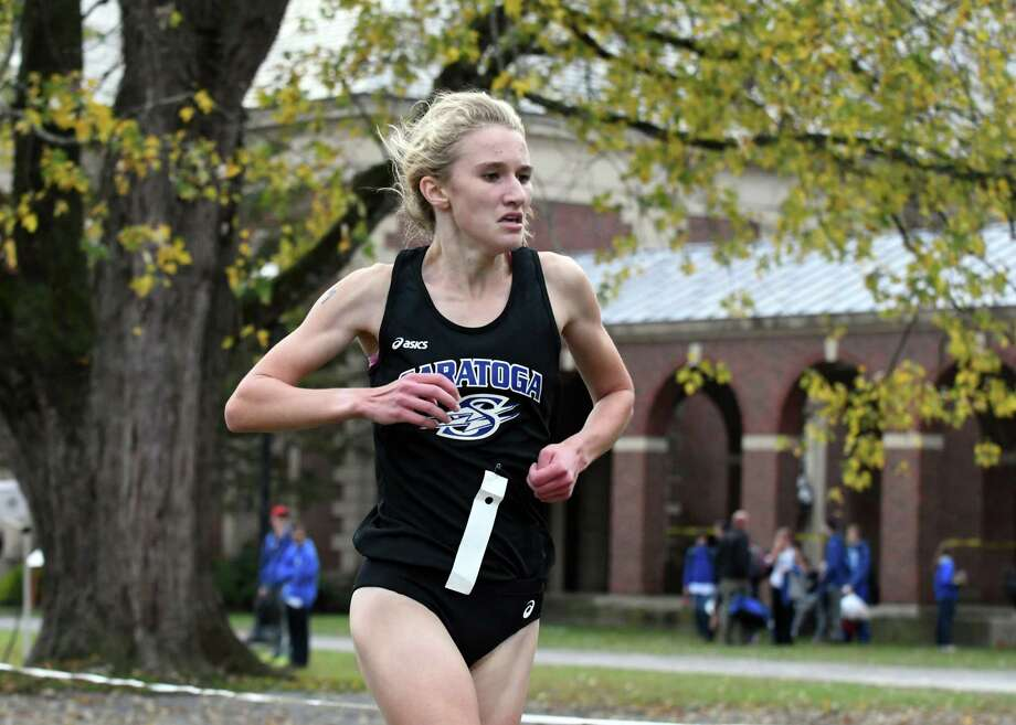 Kelsey Chmiel of Saratoga Springs wins the Class A girls sectional cross country meet at Saratoga Spa State Park on Friday, Nov. 3, 2017, in Saratoga Springs, N.Y. (Will Waldron/Times Union) Photo: Will Waldron / 20042000A
