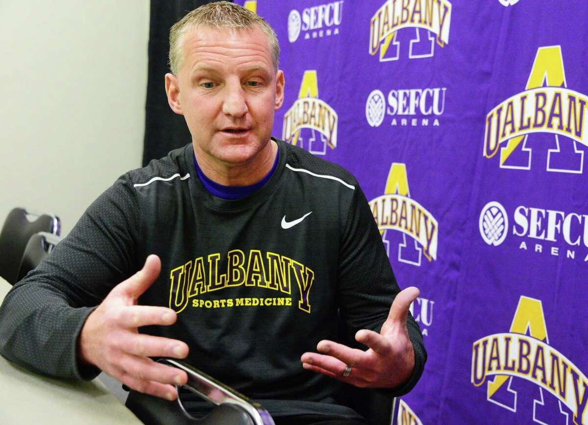 UAlbany trainer Jay Geiger is interviewed by the Times Union Nov. 29, 2017 in Albany, NY. (John Carl D'Annibale / Times Union)