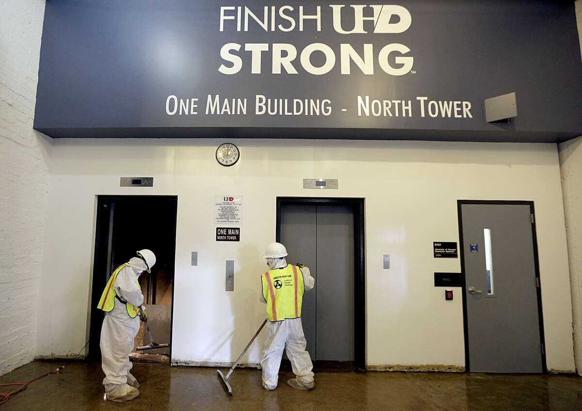 The University of Houston Downtown main building complex took on 33 inches of water during Hurricane Harvey, causing an estimated $8 million in damages. It sits in the middle of a floodway.