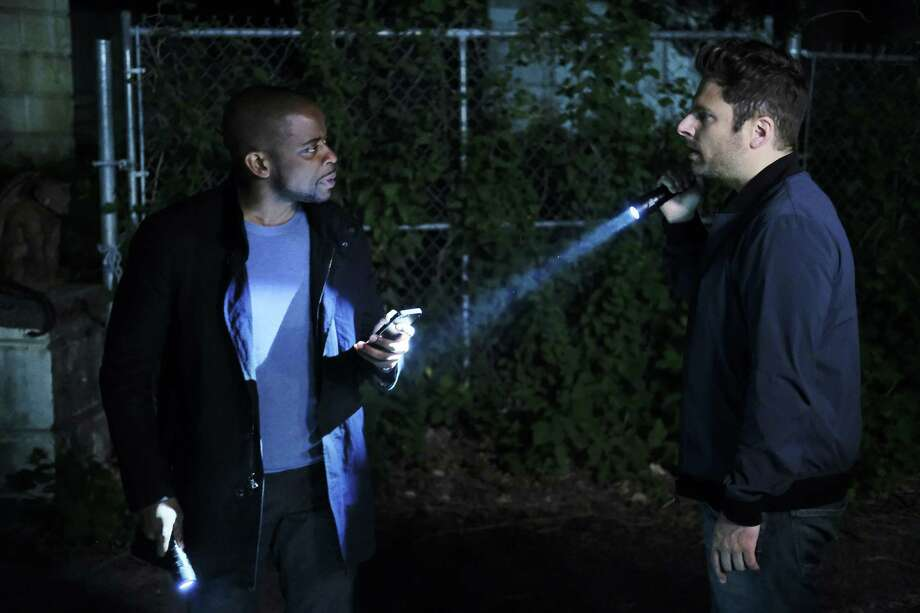 "Dulé Hill and James Roday as Burton ""Gus"" Guster and Shawn Spencer return in ""Psych: The Movie."" Photo: USA Network / USA Network / Alan Zenuk / USA Network / 2017 USA Network Media, LLC"