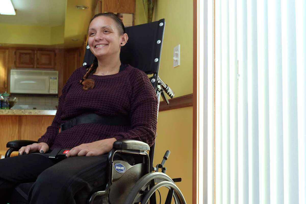 Morgan Waite talks about her recovery during an interview on Wednesday, Nov. 15, 2017, in Halfmoon, N.Y. (Paul Buckowski / Times Union)