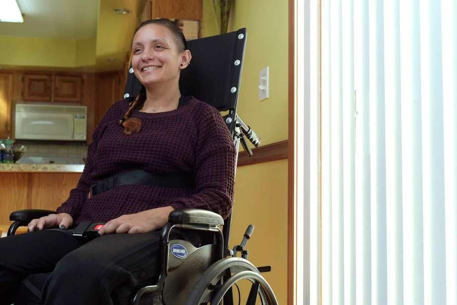Morgan Waite talks about her recovery during an interview on Wednesday, Nov. 15, 2017, in Halfmoon, N.Y.  (Paul Buckowski / Times Union) Photo: PAUL BUCKOWSKI / 20042167A