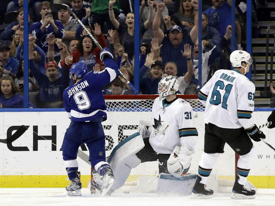 The Lightning's Tyler Johnson  celebrates after scoring past Sharks goalie Martin Jones in the third period. Photo: Chris O'Meara, Associated Press