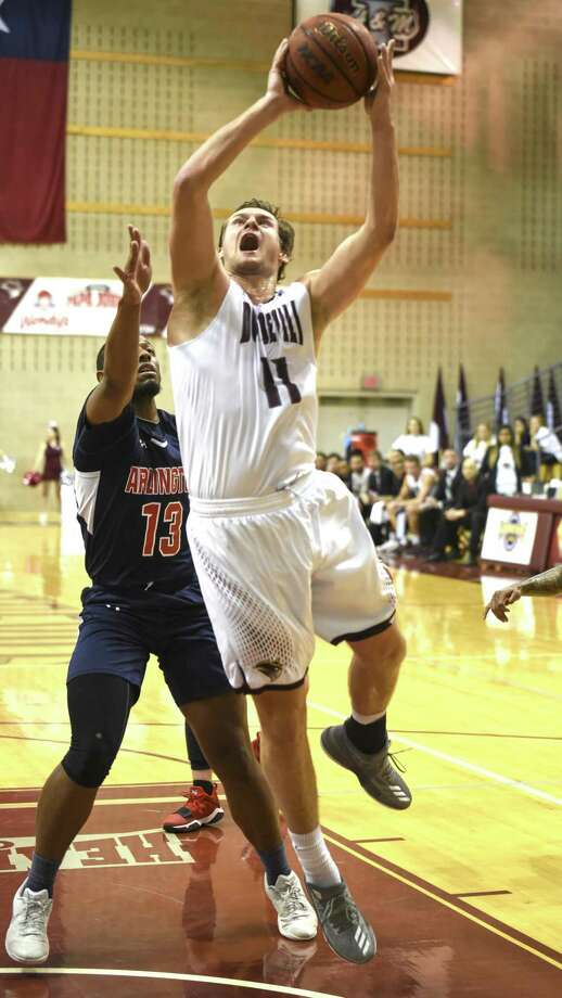 TAMIU forward Dan Milota was an All-Tournament Team selection along with teammate Xabier Gomez as the Dustdevils won two games at the Courtyard Marriott Classic in Laredo this week. Photo: Danny Zaragoza /Laredo Morning Times