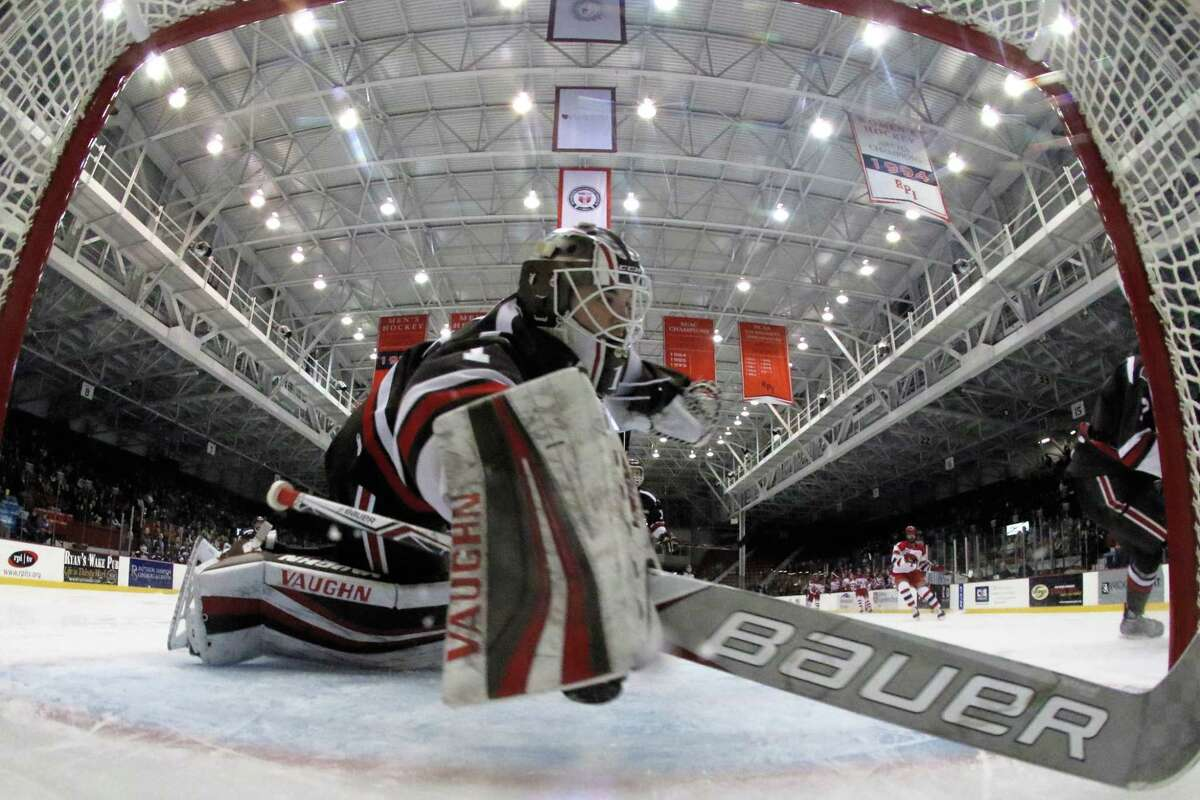 Gavin Nieto #1 of The Brown Bears in goal against the The RPI Engineers on 12/2/17 at Houston Field House, Troy NY. Photo Robert Dungan (Special to the Time Union) ORG XMIT: MER2017082023255053