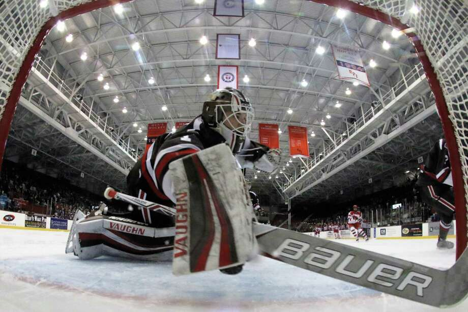 Gavin Nieto #1 of The Brown Bears in goal against the The RPI Engineers on 12/2/17 at Houston Field House, Troy NY. Photo Robert Dungan (Special to the Time Union) ORG XMIT: MER2017082023255053 Photo: Robert Dungan / Robert Dungan 2017