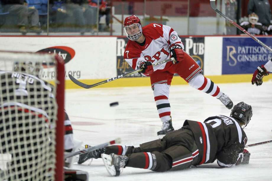 Troy York #7Êof The RPI Engineers with a shot on goal against the The Brown Bears on 12/2/17 at Houston Field House, Troy NY. Photo Robert Dungan (Special to the Time Union) ORG XMIT: MER2017082023255053 Photo: Robert Dungan / Robert Dungan 2017