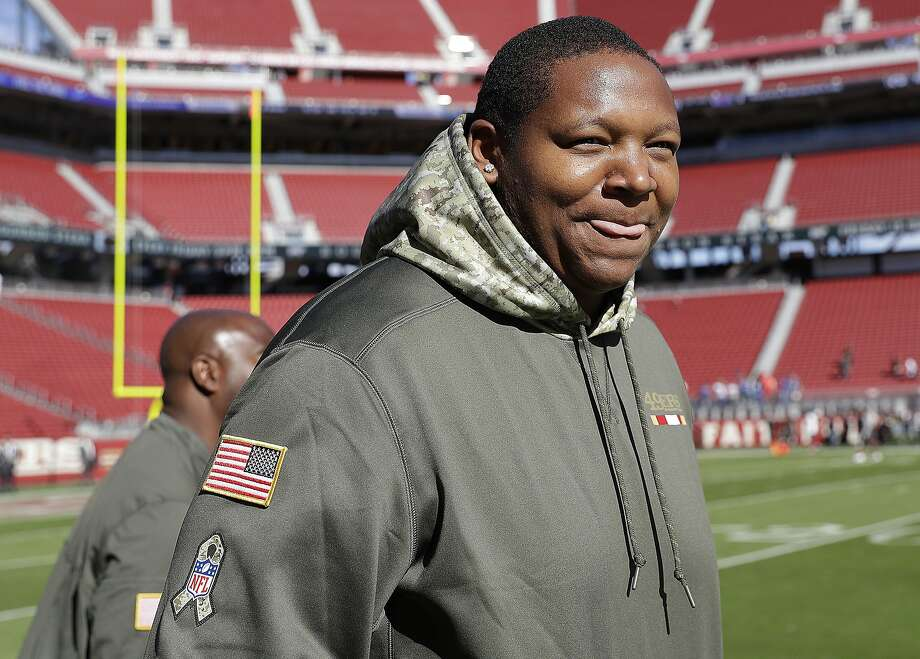 San Francisco 49ers offensive tackle Trent Brown wears Salute to Service clothing before an NFL football game against the New York Giants in Santa Clara, Calif., Sunday, Nov. 12, 2017. (AP Photo/Marcio Jose Sanchez) Photo: Marcio Jose Sanchez, Associated Press