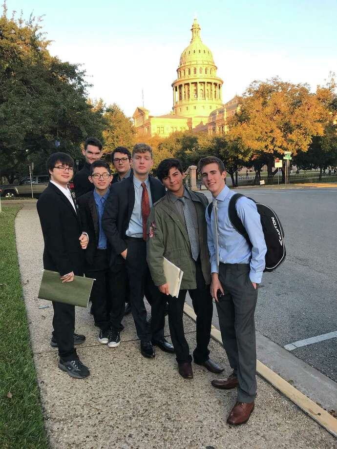 Dayton High School's Debate Team competed in the 7th Annual Capitol Congressional Debate. Representing DHS were (left to right) Ryan Barnes, Ethan Ives, Ben Cruz, Josh Daic, Mark Richter, Gustavo Villordo and Matthew Ginsel. Photo: Submitted