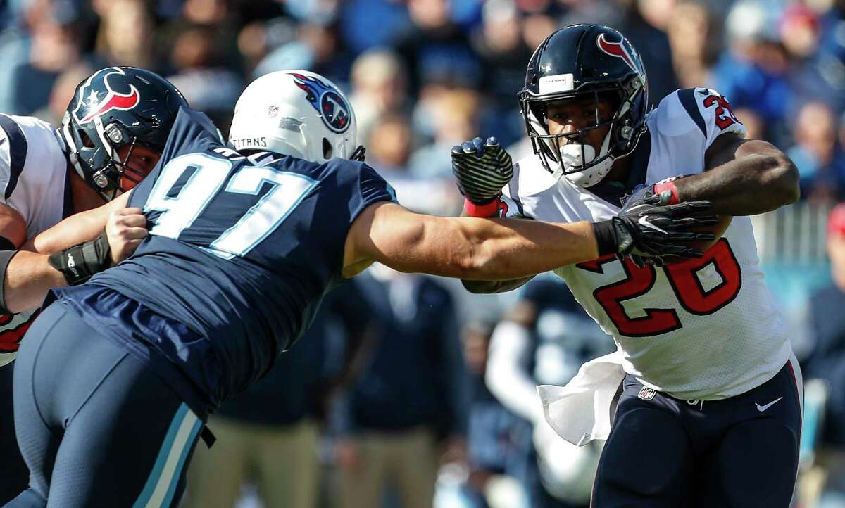 JOHN McCLAIN GRADES THE TEXANS Running back The running game was non-existent in the first half when the Texans netted 5 yards on 10 carries. The offensive line couldn't get a push. The second half was a tad better. Lamar Miller finished with 56 yards. Grade: F