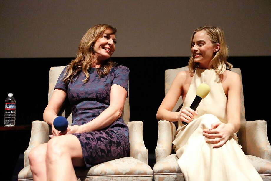 "Allison Janney (left) and Margot Robbie answer audience questions about their roles in the film ""I, Tonya"" after a screening in San Rafael. Photo: Amy Osborne, Special To The Chronicle"