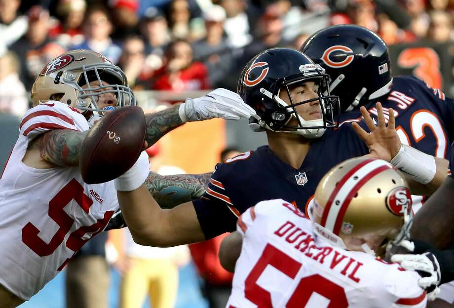 CHICAGO, IL - DECEMBER 03:   Cassius Marsh #54 of the San Francisco 49ers reaches for quarterback  Mitchell Trubisky #10 of the Chicago Bears in the third quarter at Soldier Field on December 3, 2017 in Chicago, Illinois.  (Photo by Jonathan Daniel/Getty Images) Photo: Jonathan Daniel, Getty Images