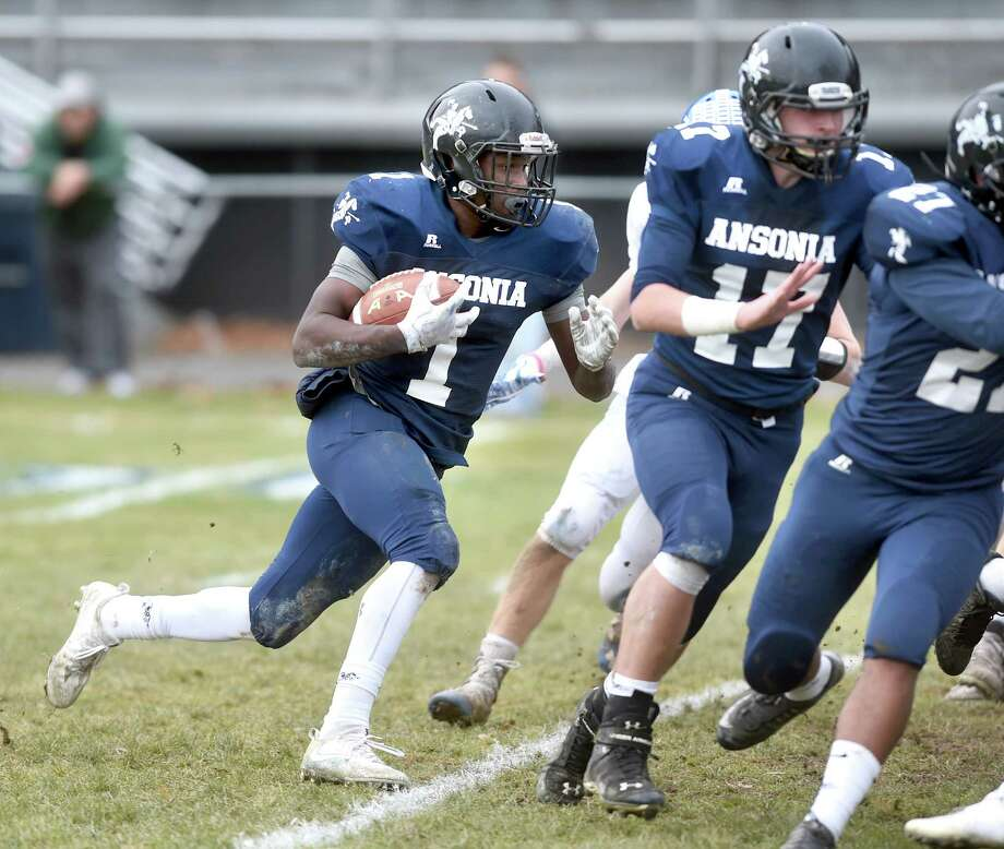 Action from the first half of the Ansonia vs. Stafford/East Windsor/Somers in the Class S state football semifinal on December 3, 2017. Photo: Arnold Gold, Hearst Connecticut Media / New Haven Register