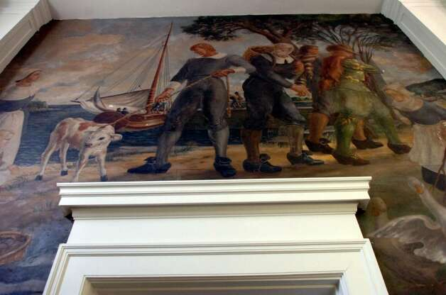 "A mural in the lobby of the Greenwich Avenue post office, on Monday, June 27, 2010.The painting is titled ""The Packet Sails from Greenwich"" and it was dedicated in November 1939. Artist Victoria Hutson Huntley won the commission to paint the mural in a competition sponsored by the Treasury Department. People are wondering what will happen to it if the building is sold. Photo: Helen Neafsey / Greenwich Time"