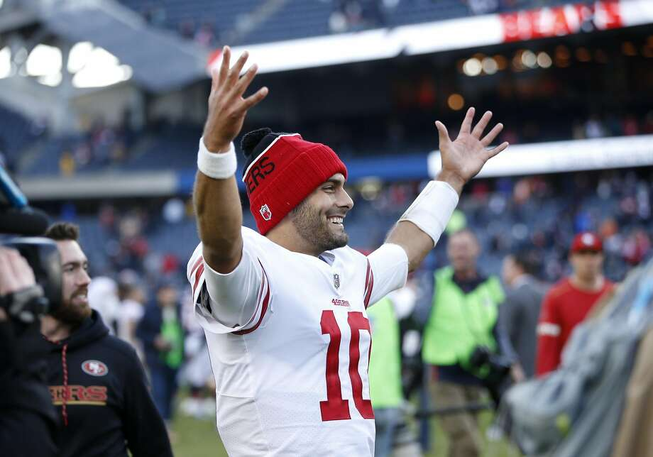 CHICAGO, IL - DECEMBER 03:  Quarterback  Jimmy Garoppolo #10 of the San Francisco 49ers reacts after the 49ers defeated the Chicago Bears 15-14 at Soldier Field on December 3, 2017 in Chicago, Illinois.  (Photo by Joe Robbins/Getty Images) Photo: Joe Robbins, Getty Images