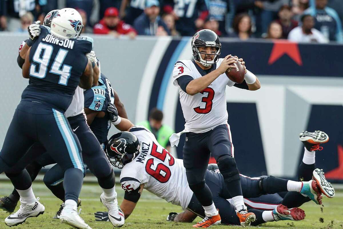 JOHN McCLAIN GRADES THE TEXANS Quarterback Tom Savage threw for a career-high 365 yards. His one turnover came at the worst time of the game when he was intercepted in the end zone by cornerback LeShaun Sims to preserve Tennessee's victory. Grade: B