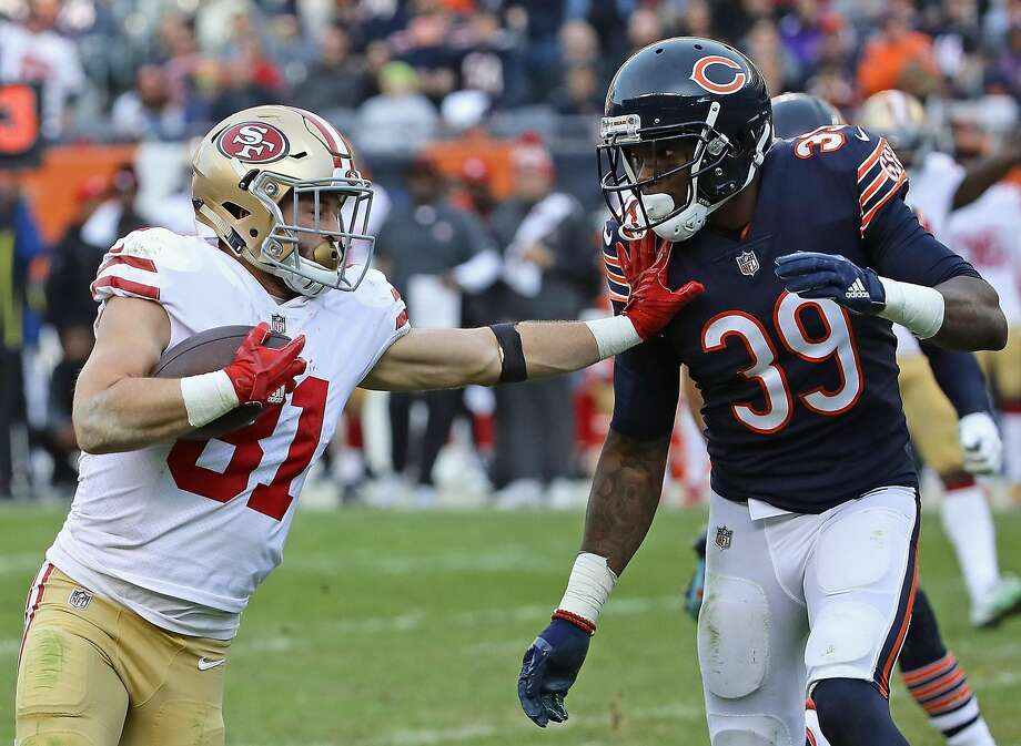 49ers receiver Trent Taylor tries to hold off the Bears' Eddie Jackson on a 33-yard reception for a first down that set up the game-winning field goal. The rookie caught six passes for 96 yards. Photo: Jonathan Daniel, Getty Images