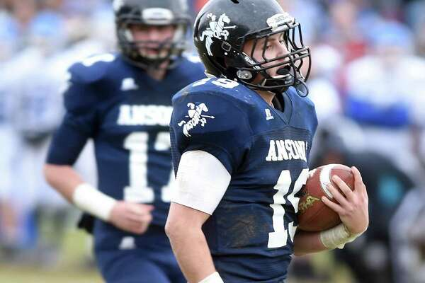 Ansonia's John Picheco runs for a touchdown against Stafford/East Windsor/Somers in the second quarter on Sunday.