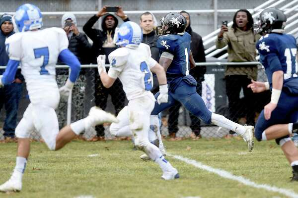 Action from the first half of the Ansonia vs. Stafford/East Windsor/Somers in the Class S state football semifinal on December 3, 2017.