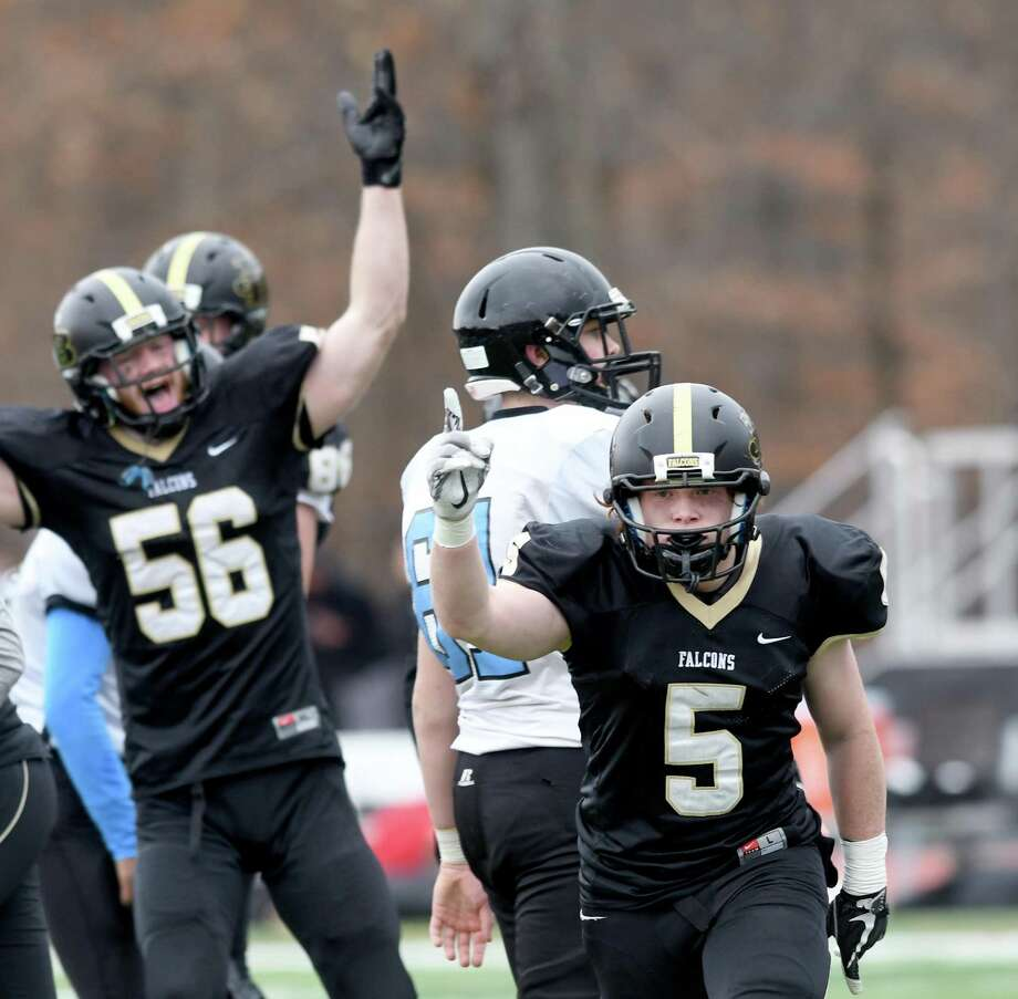 Barlow's Tyler Starrett, right, and Danny Brey celebrate during the Joel Barlow and SMSA/University/Classical Magnet Class M state football semifinal, at Joel Barlow in Redding, December 3, 2017. Barlow beat SMSA 53-14 to reach the Class M final. Barlow beat SMSA 53-14 to reach the Class M final. Photo: Krista Benson / The News-Times Freelance