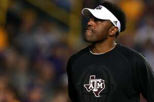 BATON ROUGE, LA - NOVEMBER 25:  Head coach Kevin Sumlin of the Texas A&M Aggies walks on the field prior to a game against the LSU Tigers at Tiger Stadium on November 25, 2017 in Baton Rouge, Louisiana.  (Photo by Sean Gardner/Getty Images)
