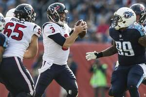 Houston Texans quarterback Tom Savage (3) is pressured in the pocket by Tennessee Titans outside linebacker Derrick Morgan (91) and defensive end Jurrell Casey (99) during the second quarter of an NFL football game at Nissan Stadium on Sunday, Dec. 3, 2017, in Nashville. ( Brett Coomer / Houston Chronicle )