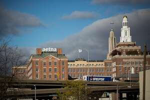 The skyline of in Hartford, Connecticut, includes the Aetna headquarters on Nov. 22, 2016. (MUST CREDIT: Michael Nagle/Bloomberg)