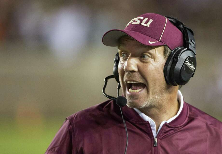 FILE-This Oct. 29, 2016, file photo shows Florida State coach Jimbo Fisher shouting instructions during the second half of the team's NCAA college football game against Clemson in Tallahassee, Fla. With the regular season winding down, the Atlantic Coast Conference's bowl picture is still unclear. The ACC enters the 12th week of the season with 13 of its 14 teams still in the hunt for bowl berths. (AP Photo/Mark Wallheiser, File) Photo: Mark Wallheiser, FRE / Associated Press / FR171224 AP