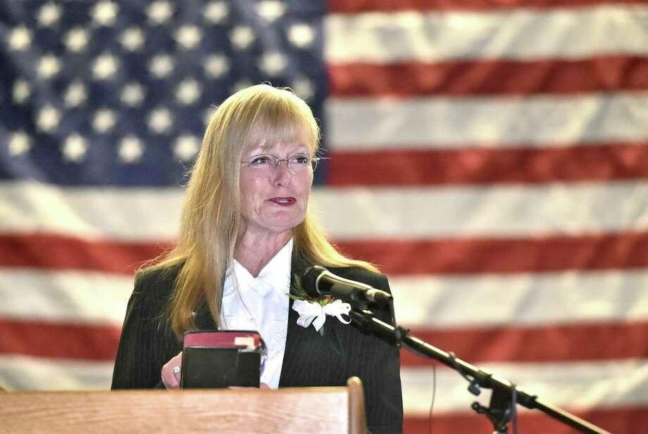 Nancy Rossi during her inaugural address Sunday. Photo: Peter Hvizdak / Hearst Connecticut Media / New Haven Register