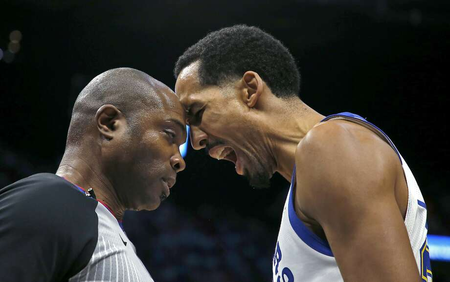 Golden State Warriors guard Shaun Livingston (34) argues a call with referee Courtney Kirkland before he was called for a technical foul and was ejected, during an NBA basketball game against the Miami Heat, Sunday, Dec. 3, 2017, in Miami. (AP Photo/Joe Skipper) Photo: Joe Skipper, Associated Press