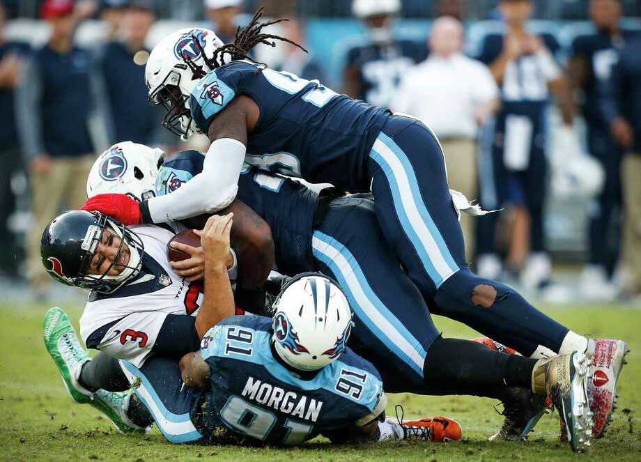 Texans quarterback Tom Savage (3) is sacked by Titans linebackers Derrick Morgan, Brian Orakpo and Erik Walden, top, during the fourth quarter Sunday at Nissan Stadium.To see where the Texans rank this week and the rest of the General's rankings heading into Week 14, browse through the slideshow. Photo: Brett Coomer, Staff / © 2017 Houston Chronicle
