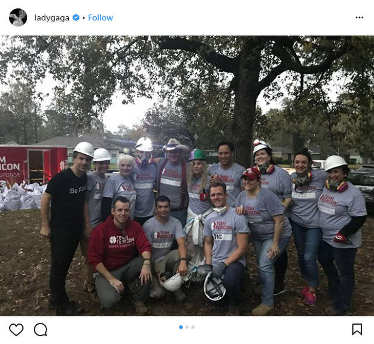 Musician Lady Gaga rolled into Houston on Sunday as a part of her Joanne World Tour, but before she took to the stage, she went out to a local Houstonian's house to help with Hurricane Harvey relief.