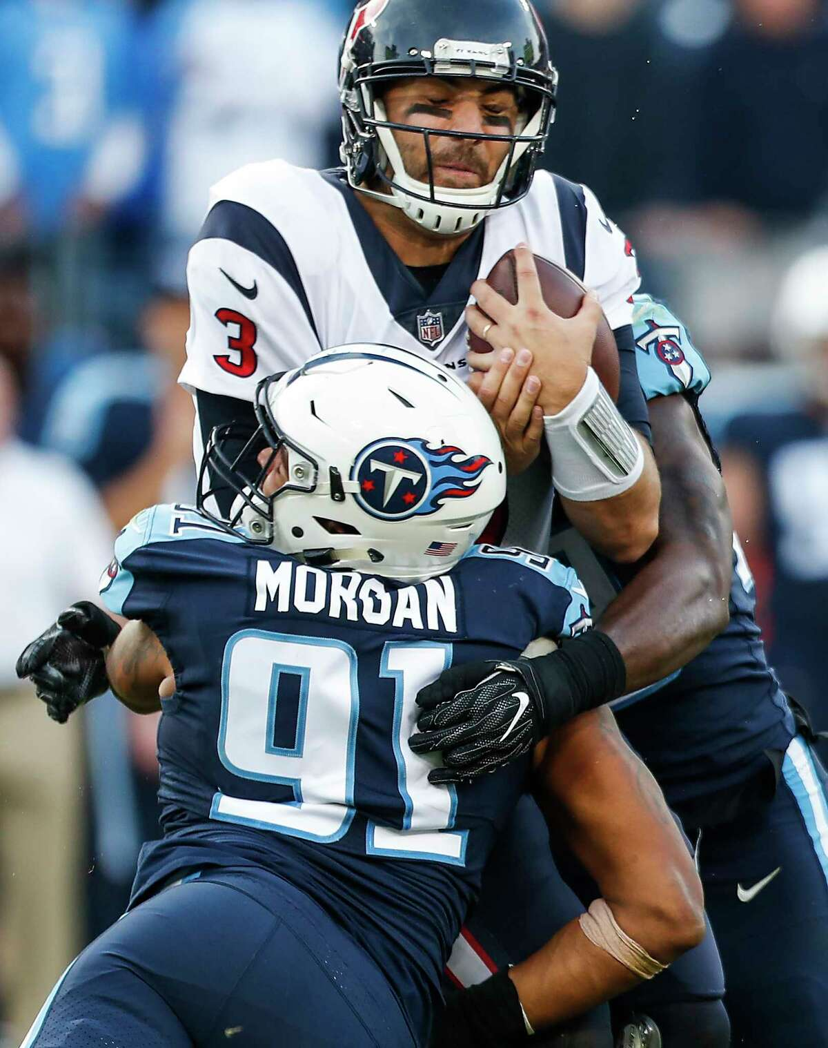 Despite throwing for a career-best 365 yards, Texans quarterback Tom Savage was sacked four times by the Titans, including one by outside linebacker Derrick Morgan in the fourth quarter.