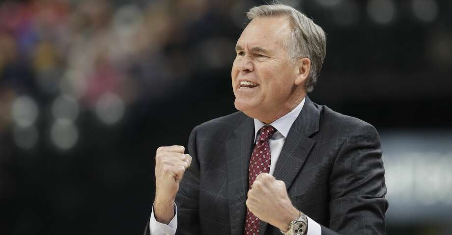 Houston Rockets head coach Mike D'Antoni argues a call during the first half of an NBA basketball game against the Indiana Pacers, Sunday, Nov. 12, 2017, in Indianapolis. (AP Photo/Darron Cummings) Photo: Darron Cummings/Associated Press