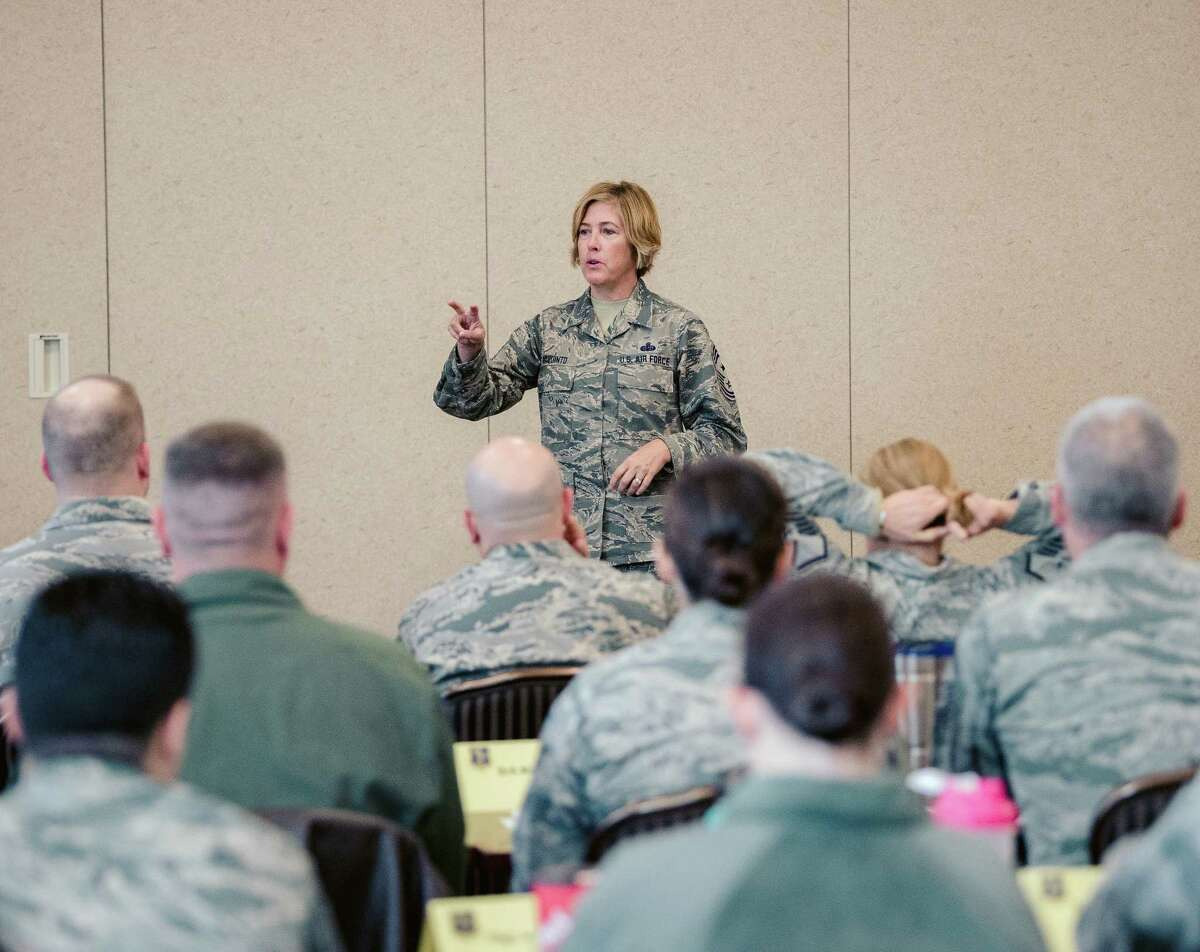 Command Chief Master Sgt. Amy Giaquinto, the senior enlisted advisor for the New York National Guard, speaks to members of the 107th Attack Wing in Niagara Falls, N.Y. on Oct. 17, 2017. (U.S. Air National Guard photo by Staff Sgt. Ryan Campbell)
