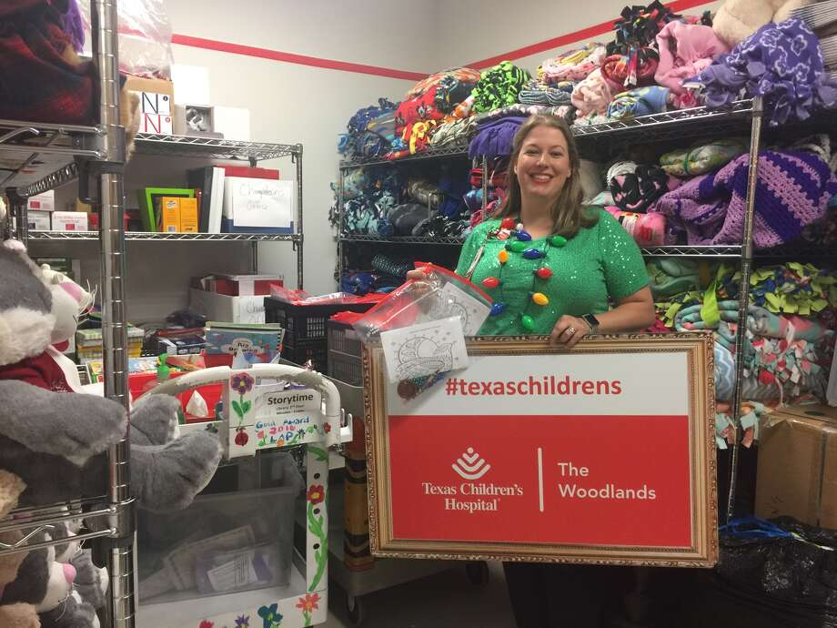 Zett Small, Volunteer Director for Texas Children's Hospital The Woodlands, with Activity Bags made by the kids/grandkids of Conroe Rotarians for The TCH Craft Cart. Each bag contains crayons, coloring pages, play-doh and beads to occupy patients and their siblings while at TCH. Photo: Submitted Photo