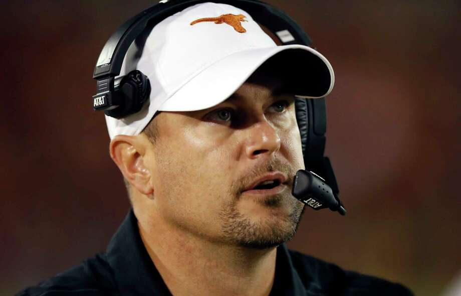 Texas coach Tom Herman watches from the sideline during the second half of an NCAA college football game against Iowa State, Thursday, Sept. 28, 2017, in Ames, Iowa. Texas won 17-7. (AP Photo/Charlie Neibergall) Photo: Charlie Neibergall, STF / Copyright 2017 The Associated Press. All rights reserved.