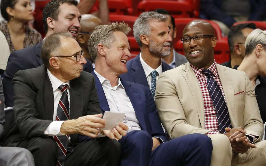 Golden State Warriors coach Steve Kerr, second from left, reacts with assistant coaches Ron Adams, left, and Mike Brown late in the fourth quarter of the team's NBA basketball game against the Miami Heat, Sunday, Dec. 3, 2017, in Miami. The Warriors won 123-95. (AP Photo/Joe Skipper) Photo: Joe Skipper, Associated Press