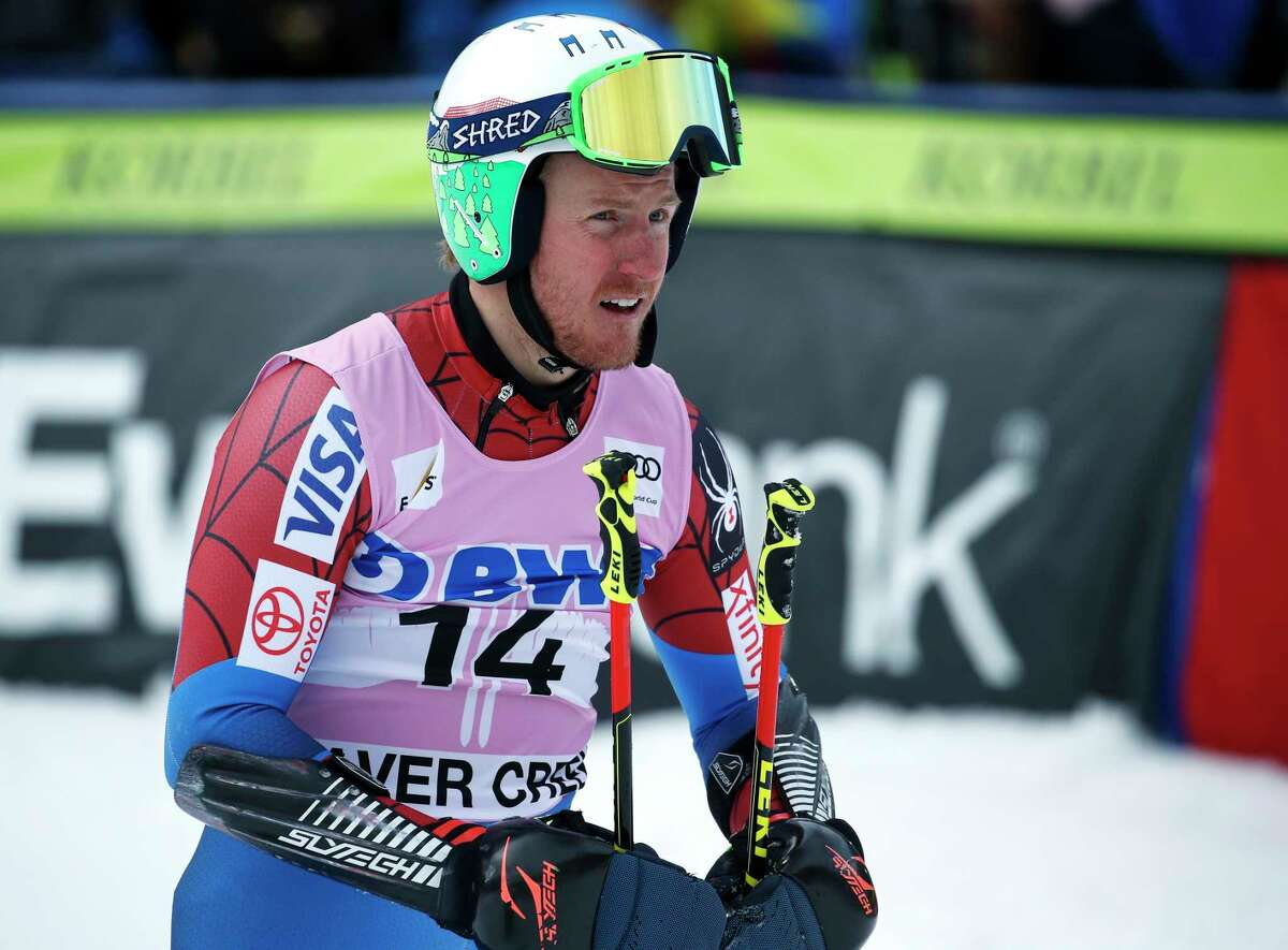 United States' Ted Ligety rests after finishing the second run of a men's World Cup giant slalom ski race Sunday, Dec. 3, 2017, in Beaver Creek, Colo. (AP Photo/John Locher) ORG XMIT: COTW220
