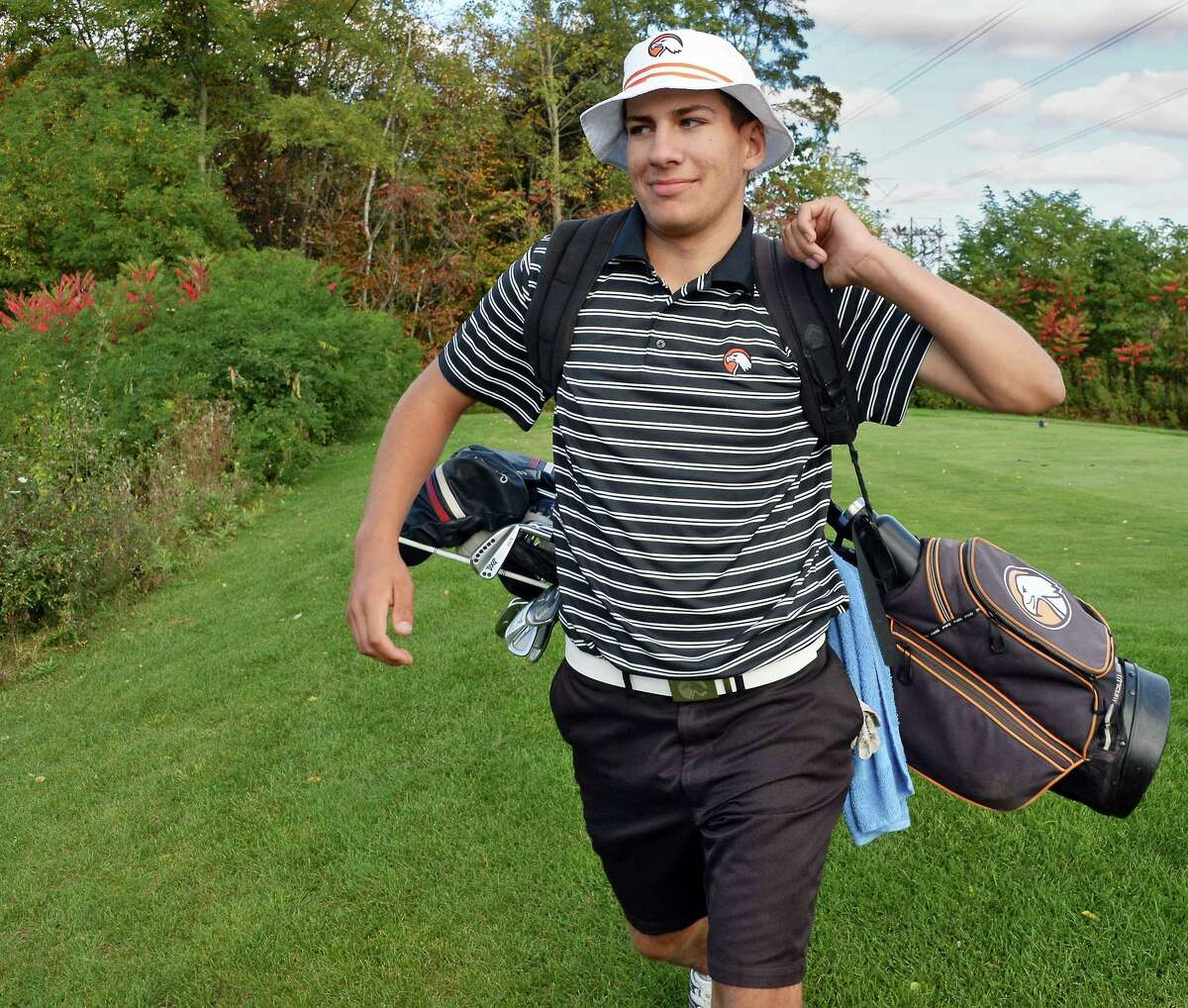 Austin Fox of Bethlehem High during the Section II golf state qualifier at Orchard Creek Golf Course Thursday Oct. 12, 2017 in Altamont, NY. (John Carl D'Annibale / Times Union)