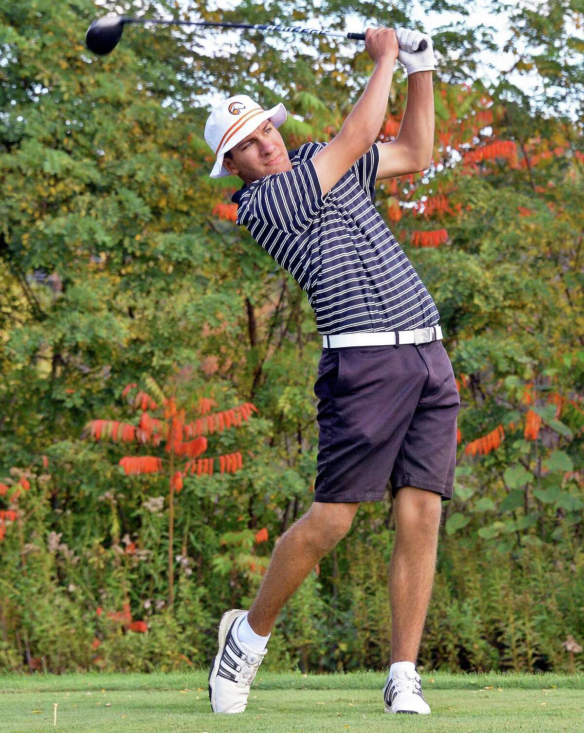 Austin Fox of Bethlehem High in action during the Section II golf state qualifier at Orchard Creek Golf Course Thursday Oct. 12, 2017 in Altamont, NY. (John Carl D'Annibale / Times Union)