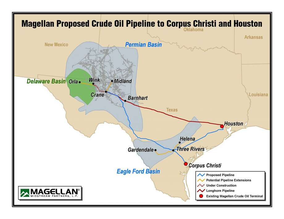 Magellan Midstream Partners LP has announced plans to develop a new pipeline that would originate from Crane to a location near Three Rivers, transporting various grades of crude and condensate from the Permian and Eagle Ford to the Corpus Christi and Houston markets. Photo: Courtesy Photo