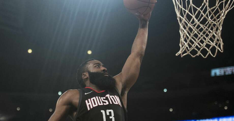 Houston Rockets guard James Harden goes up for a dunk during the first half of an NBA basketball game against the Los Angeles Lakers on Sunday, Dec. 3, 2017, in Los Angeles. (AP Photo/Kyusung Gong) Photo: Kyusung Gong/Associated Press