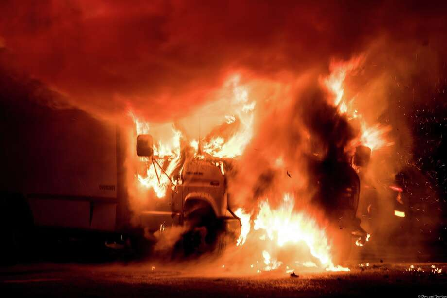 A truck burns near the South of Market area of San Francisco on Sunday, Dec. 3, 2017. Photo: Dwayne Newton/Courtesy