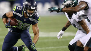 Seahawks wide receiver Doug Baldwin runs the ball after making a reception in the second half against the Eagles at CenturyLink Field on Dec. 3, 2017.