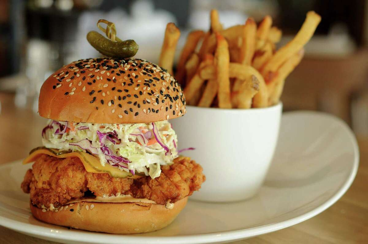 The southern fried crispy chicken sandwich with cabbage slaw, cheddar cheese and a quick pickle at the new Moxie's Grill & Bar in the Galleria neighborhood.