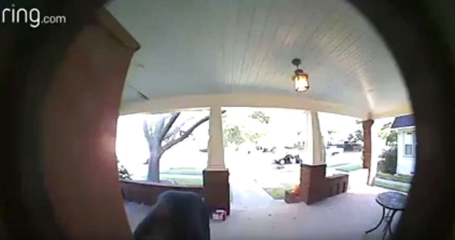 The Harris County Constable's Office has released surveillance video from Woodland Heights showing two men stealing packages from the front of a home. Photo: Harris County Constable Office