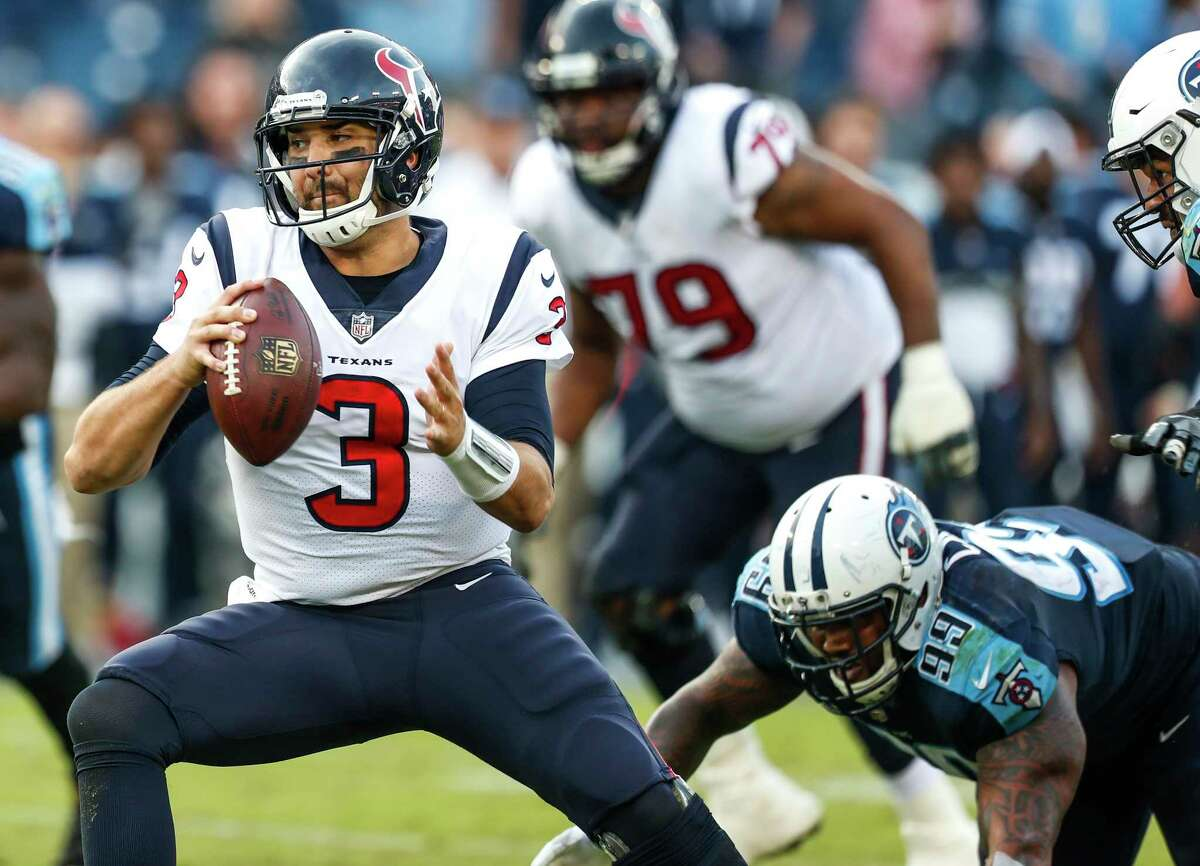 Houston Texans quarterback Tom Savage (3) is pressured out of the pocket by Tennessee Titans defensive end Jurrell Casey (99) during the fourth quarter of an NFL football game at Nissan Stadium on Sunday, Dec. 3, 2017, in Nashville.