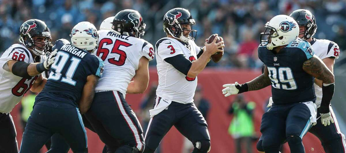 Houston Texans quarterback Tom Savage (3) is pressured in the pocket by Tennessee Titans outside linebacker Derrick Morgan (91) and defensive end Jurrell Casey (99) during the second quarter of an NFL football game at Nissan Stadium on Sunday, Dec. 3, 2017, in Nashville.