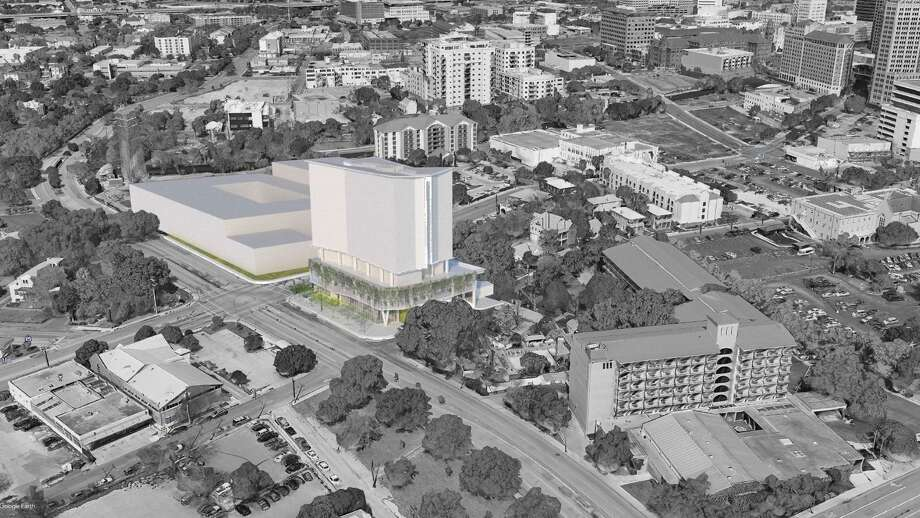 Laney Development Group, a company led by developer Timothy Proctor, has submitted plans to the city for a 12-story tower, which would be at the northwest corner of Presa Street and César E. Chávez Boulevard. Photo: Historic And Design Review Commission